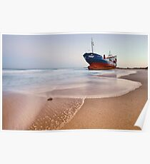 Wrecked ship ashored in Sharjah - Ajman beach on the cost of Persian Gulf Poster