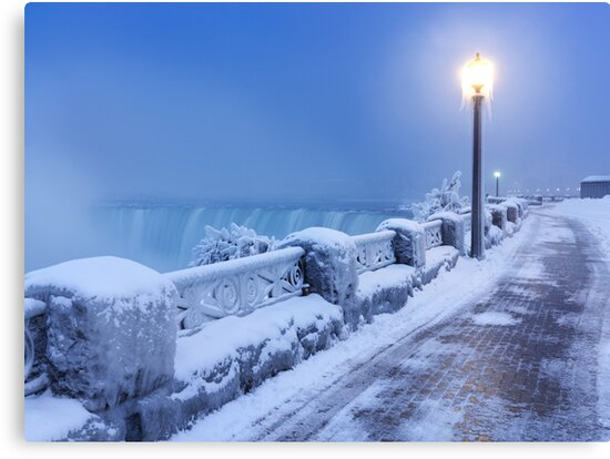 Niagara Falls city wintertime scenery art photo print by ArtNudePhotos