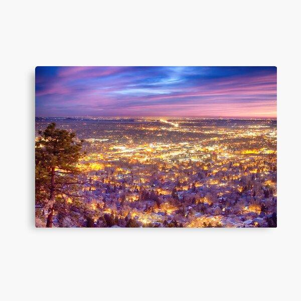 Downtown Boulder Colorado City Lights Sunrise Canvas Print