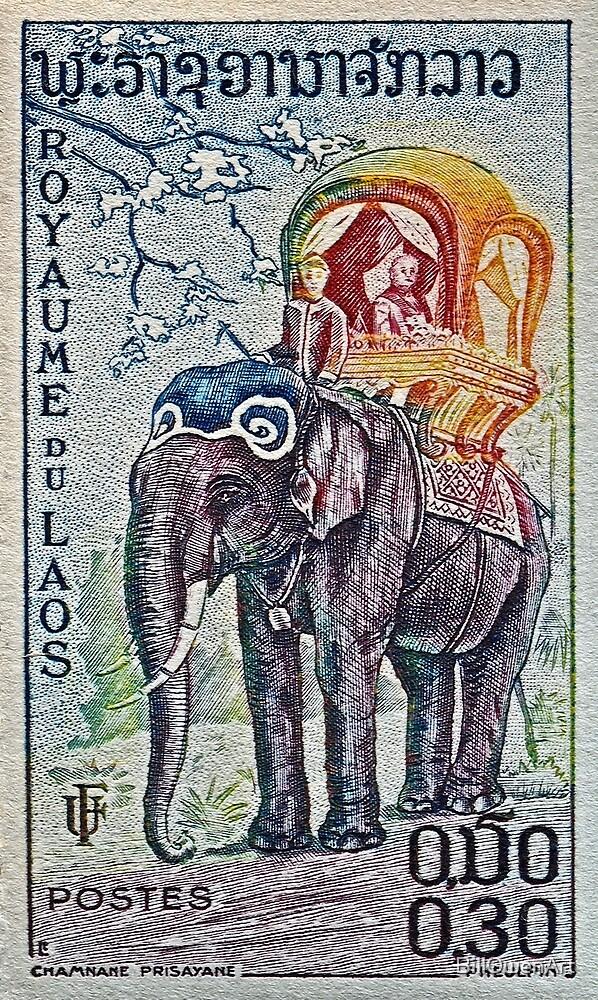 1958 Laos Elephant Stamp by BillOwenArt