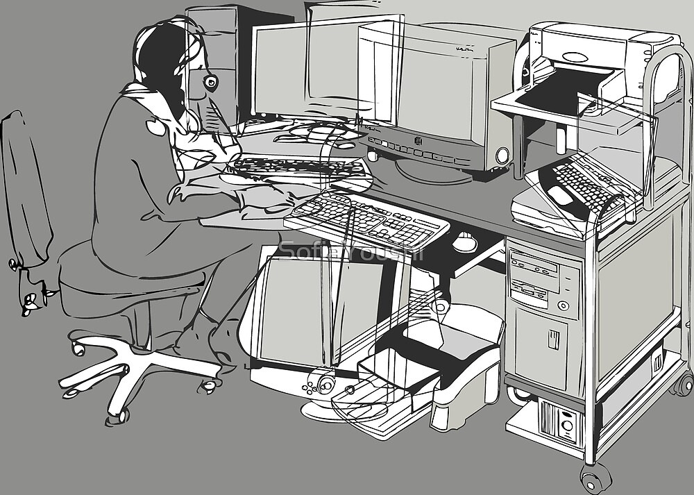 COMPUTER OFFICE WORKER by SofiaYoushi