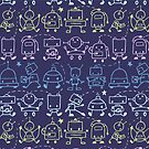 Cute robots stripes pattern by oksancia