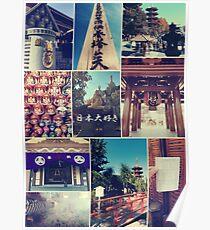 Kawasaki Daishi Buddhist Temple Japan Vintage Collage Poster