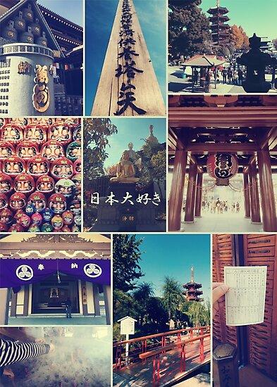 Kawasaki Daishi Buddhist Temple Japan Vintage Collage by Beverly Claire Kaiya