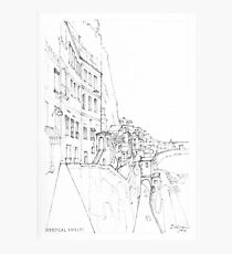 Vertical Amalfi Pencil and Ink Sketch Photographic Print