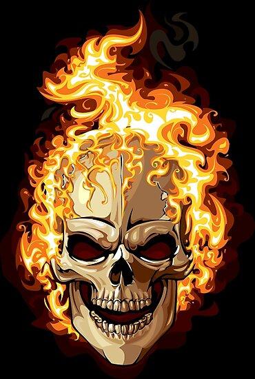Lminas Fotogrficas Fire Skull Ghost Rider De Marviox Redbubble