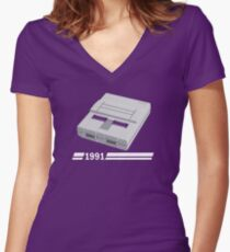 History of Gaming - SNES Women's Fitted V-Neck T-Shirt