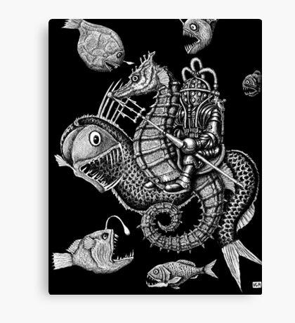 Poseidon ink pen surreal drawing Canvas Print