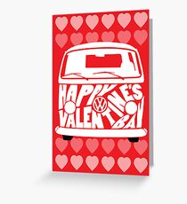 Valentine's Day VW Camper Bay Hearts White Greeting Card