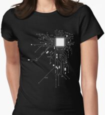 CPU Computer Heart White Women's Fitted T-Shirt