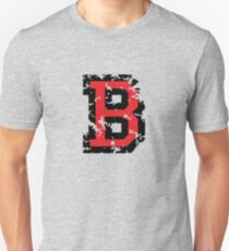 Letter B (Distressed) two-color black/red character T-Shirt