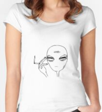 Smoking Alien  Women's Fitted Scoop T-Shirt
