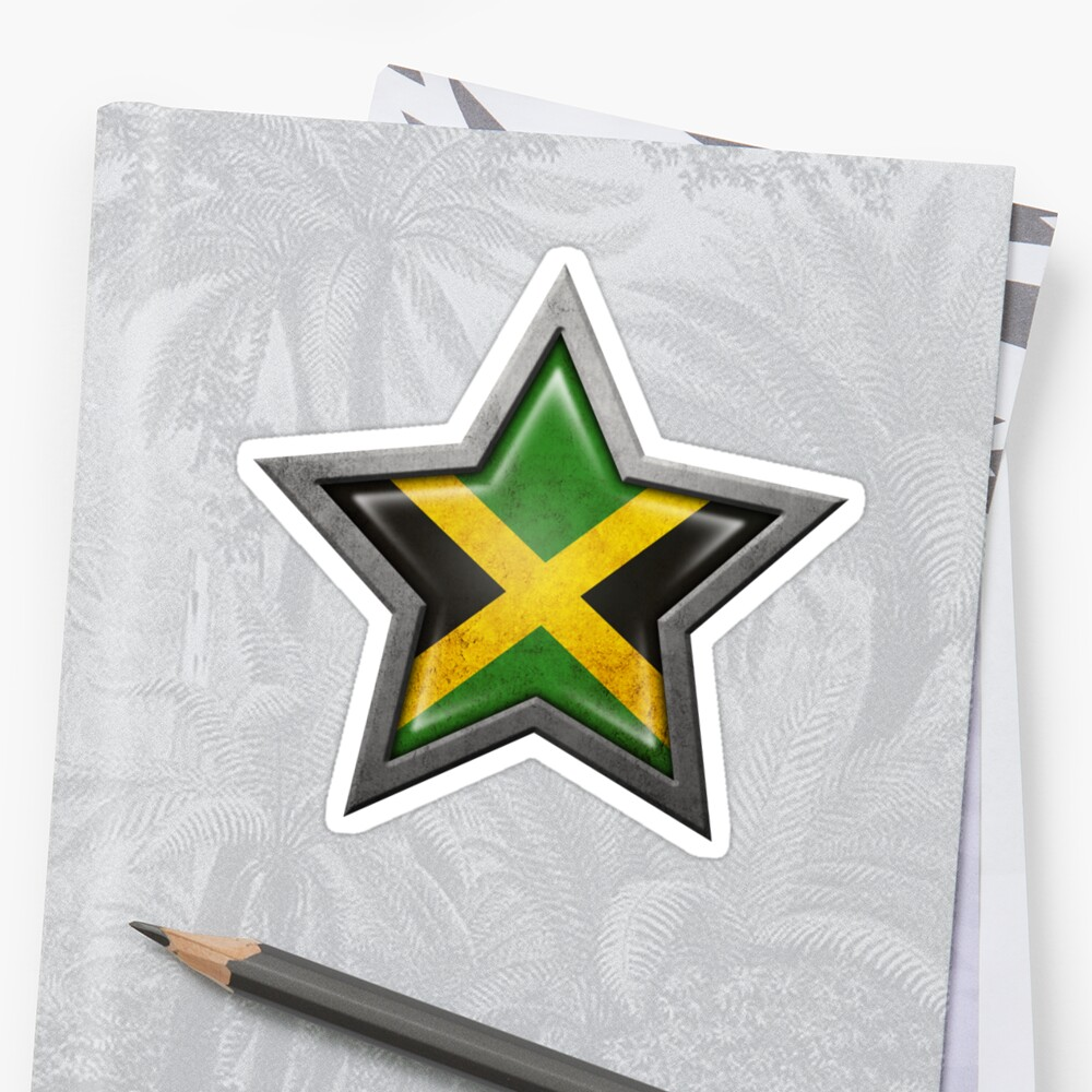 Jamaican Flag Inside of an Aged and Scratched Star by jeff bartels