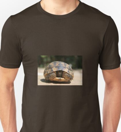 Young Spur Thighed Tortoise Looking Out of Its Shell T-Shirt
