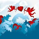 Sea of love - cupids on heart hunting by schtroumpf2510