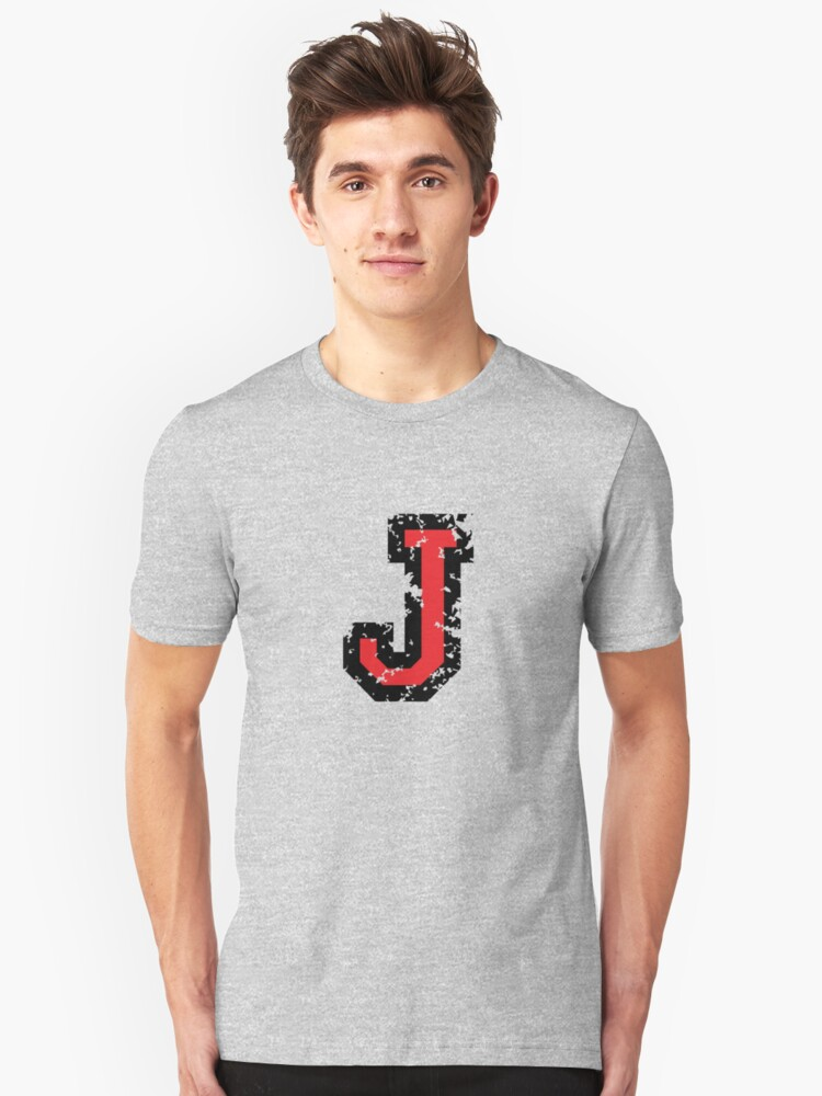 Letter J (Distressed) two-color black/red character Unisex T-Shirt Front