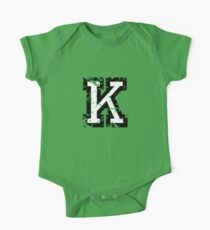 Letter K (Distressed) two-color black/white character One Piece - Short Sleeve