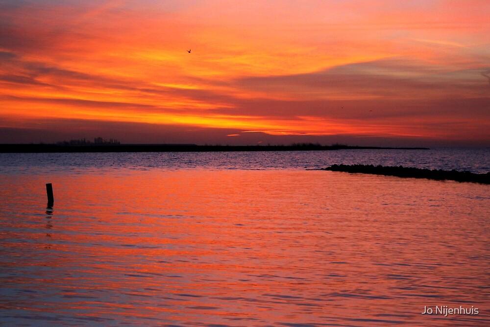 Red sky at morning, shepherd take warning! by Jo Nijenhuis