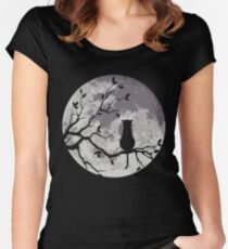 The Cat And The Moon Women's Fitted Scoop T-Shirt