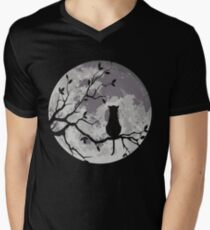 The Cat And The Moon Men's V-Neck T-Shirt