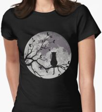 The Cat And The Moon Women's Fitted T-Shirt