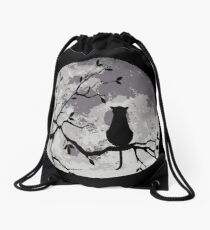 The Cat And The Moon Drawstring Bag
