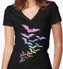 Pastel Bats Women's Fitted V-Neck T-Shirt