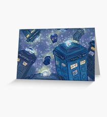 9 TARDIS flying Greeting Card