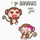 Valentines Day - I Go Bananas Over You [Transparent Stickers and Apparel] von charsheee
