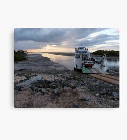 A ferry and mudflats Canvas Print