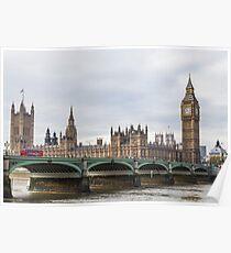 London Big Ben and Parliament River Thames Poster