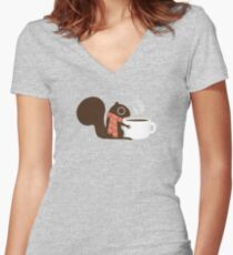 Squirrel Coffee Holiday Women's Fitted V-Neck T-Shirt