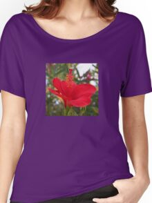 Soft Red Hibiscus With Natural Garden Background Women's Relaxed Fit T-Shirt
