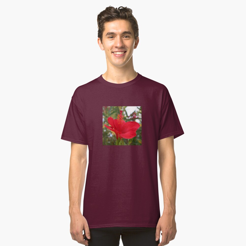 Soft Red Hibiscus With Natural Garden Background Classic T-Shirt
