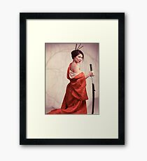 Beautiful asian woman unsheathing a sword art photo print Framed Print