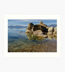 Lake Tahoe - with clear water and pebbles Art Print