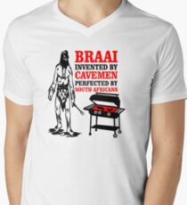 BRAAI SOUTH AFRICAN CAVE MAN Men's V-Neck T-Shirt