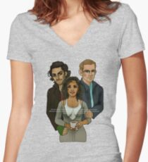 The Vampire, The Ghost and The Werewolf Women's Fitted V-Neck T-Shirt