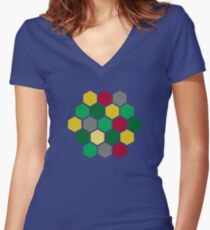 Minimalist Catan Women's Fitted V-Neck T-Shirt