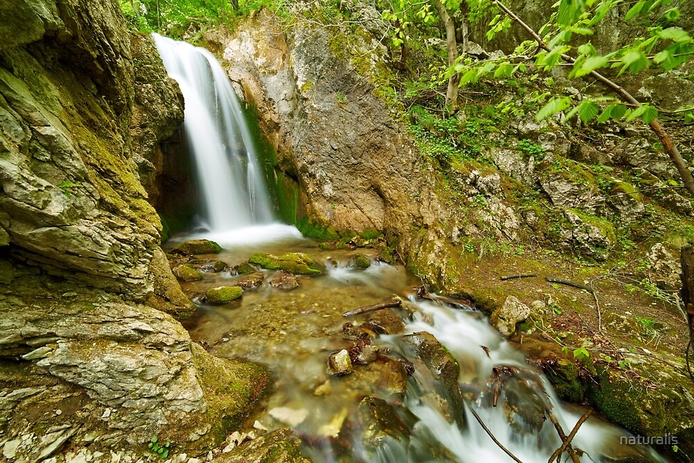 Waterfall on a mountain river by naturalis