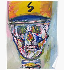 SKULL with  BASEBALL HAT Poster