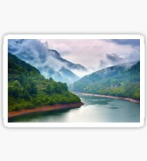 Lake in the mountains on a foggy day Sticker
