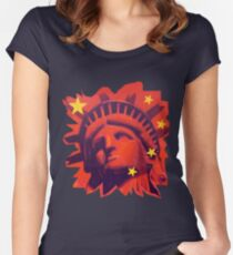 Red Liberty (cut out) Women's Fitted Scoop T-Shirt