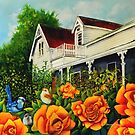 The rose gardens. Franklin Tasmania by sandysartstudio