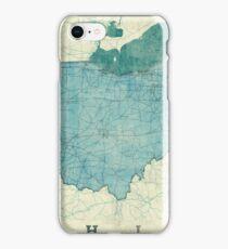Ohio Map Blue Vintage iPhone Case/Skin