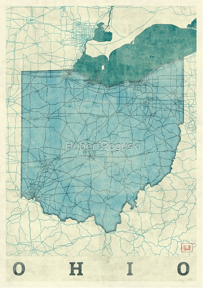 Ohio Map Blue Vintage by HubertRoguski