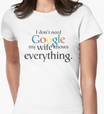 I Don't Need Google My Wife Knows Everything Womens Fitted T-Shirt