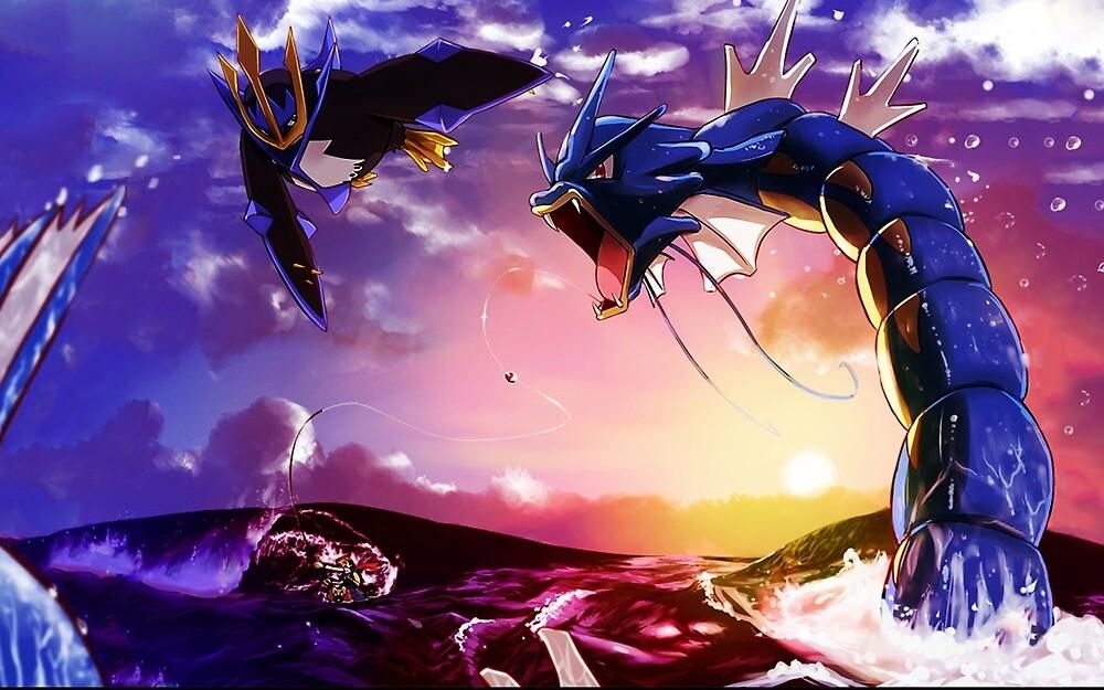 Pokemon Water-Type Fight: Empoleon vs. Gyarados by Raneni