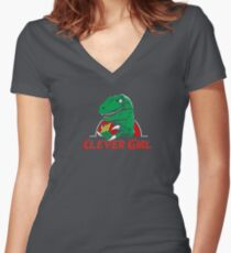 clever girl, jurassic Women's Fitted V-Neck T-Shirt