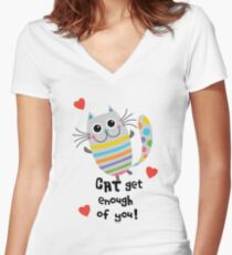 CAT Get Enough of You  Women's Fitted V-Neck T-Shirt